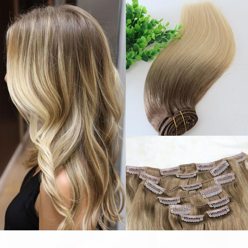 # 8 # 60 # 613 testa completa clip nelle estensioni dei capelli umani Ombre Brown medio Ombre Luce Capelli biondi Balayage evidenza 7PCS un sacco 120gram