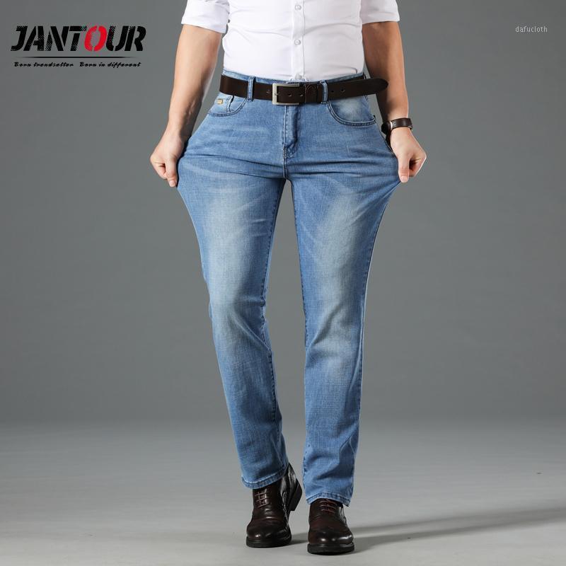 Jantour 2020 verão novo homens fino jeans negócios luz casual azul força elástica moda jeans jean calças macho marca calças1