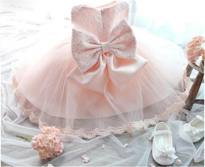 Bebé recién nacido vestido de encaje de 3M-24M 1 Años de cumpleaños de los bebés Vestidos Vestido bebes fiesta de cumpleaños de la princesa vestido de bautizo 1027