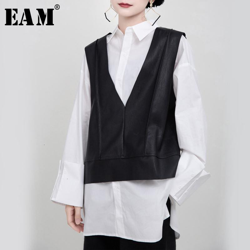 [EAM] Women Loose Fit Black Pu Leather Big Size Temperament Vest New V-collar Sleeveless Fashion Tide Spring Autumn 1M940 201015