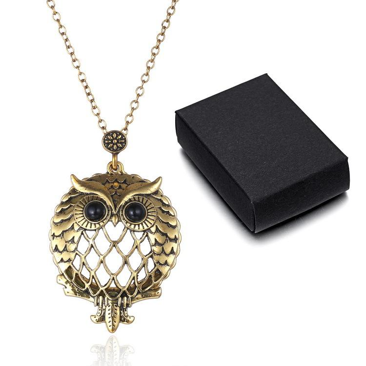 Vintage hollowed-out owl pendant sweater chain creative magnifying glass necklace to open pendant free shipp AAA31