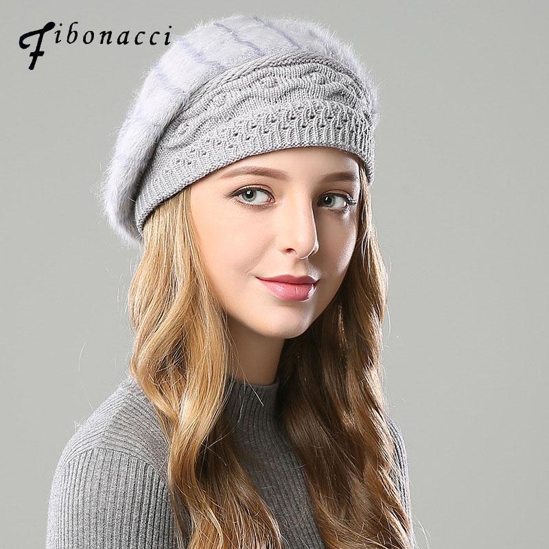 Fibonacci 2020 Nova Marca Qualidade Feminina Boina Cabelo De Cabelo De Tricô Tampa Outono Winter Hat Moda Mulher Berets