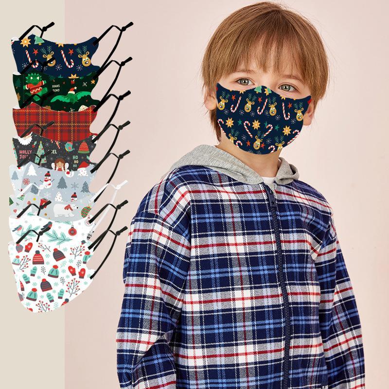 Designer Weihnachten Tuch Gesichtsmaske PM2.5 Filter-Baumwolle Kinder Mädchen Junge Mode Winter-waschbare Partei Lumious auf Lager Maske