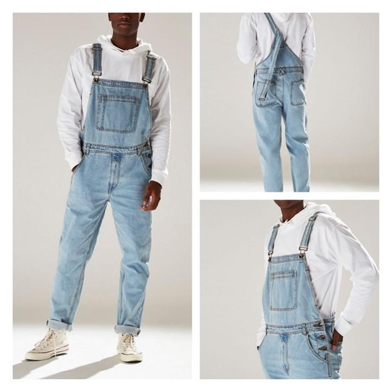 Pagliaccetti vestito degli uomini dei jeans tuta 2020 Nuovo Autunno Inverno Cotone Pantaloni maschio denim Tute Salopette corte Abbigliamento Plus Size