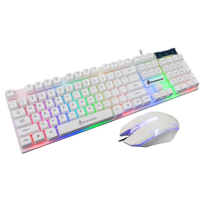Shipadoo D280 Wired teclado y ratón, teclado USB luminoso Manipulador juego y ratón