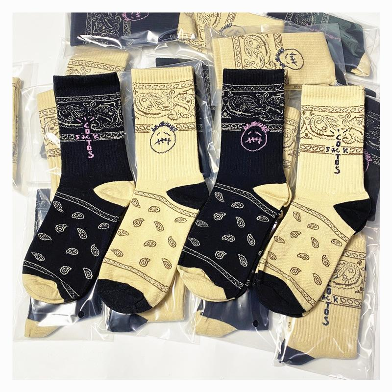 Travis Scott Spor Çorap Kaju Çiçek sızmasına Yüz Sokak Spor Çoraplar Sokak Kaykay Çorap Bir Boyut Hip-hop