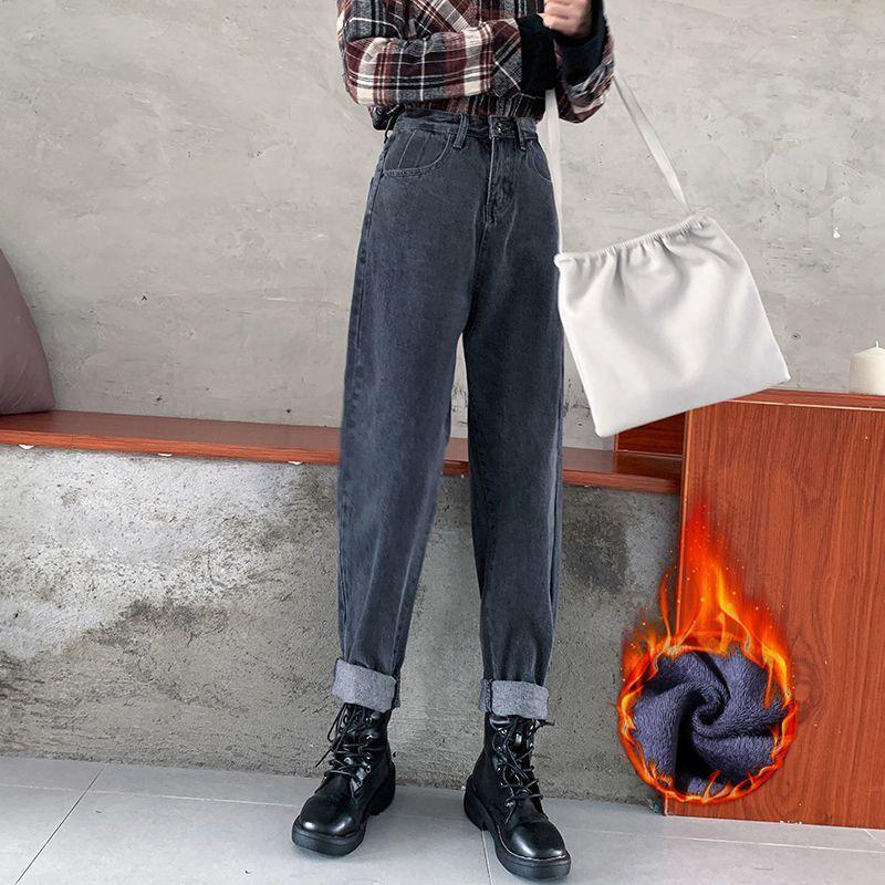 Herbst-Winter-Frauen-Jeans Demin Hose gerade lange Jeans plus Größe Art und Weise hohe Taille Knöpfe Taschen Haremhosen 201014