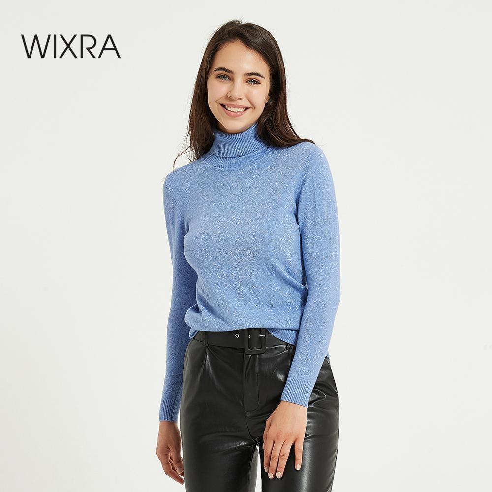 Wixra Womens Sweater Pullovers Soft Turtleneck Sólido Outono Inverno Mulheres Mulheres Feminino Malha Estreação de Manga Longa Suéters Jumpers 201031