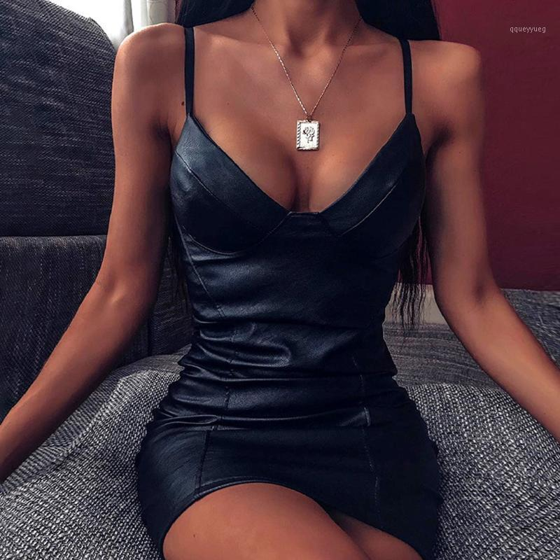 Women Sexy Mini Dress Sexy Leather Strap Bag Hip Nightclub Dress 2020 Bodycon Mini Party Fashion Ladies Vestidos1