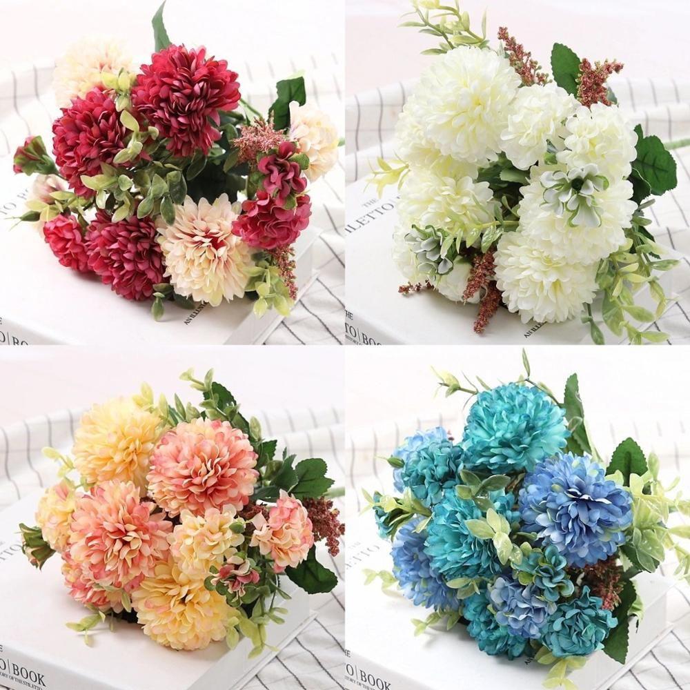 Peony Artificial Flowers High Quality Bouquet Wedding Decoration for Home Table Decor Sky Blue Fake Flowers Hydrangea