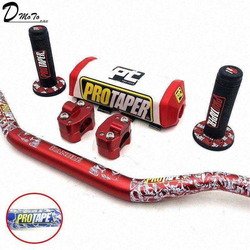 """Para manillar PRO Taper Paquete Bar 1-1 / 8"""" La barra de sujección Pad apretones Pit Pro Dirt Racing Pit motocicleta de la bici CNC 28,5 mm Adaptador 5CVU #"""