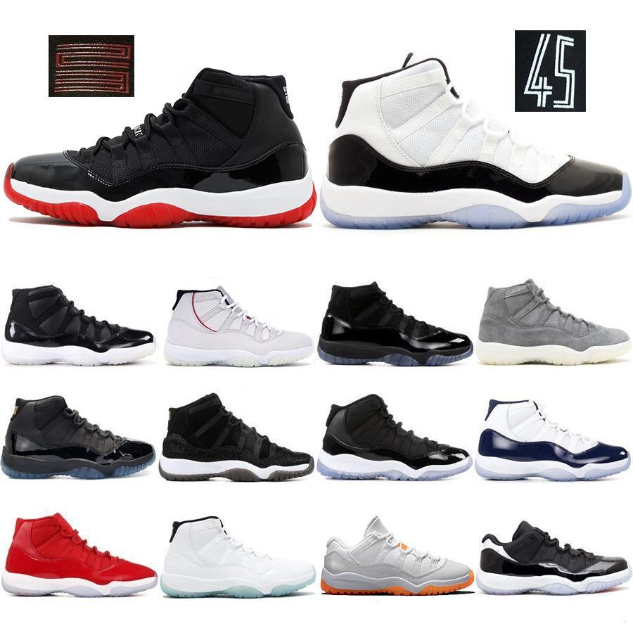 Nave libera Bred scarpe 11 Mens Basketball Concord Platinum Tint Cap Gown Leggenda argento metallizzato Blu mens scarpe da ginnastica Allenatore sportivo
