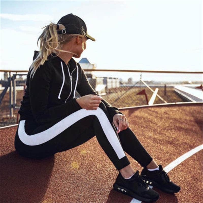 Женская сексуальная Бег Фитнес гетры Gym Спорт Полосатый тонкий Черный насыщенный длинные штаны компрессионные Брюки