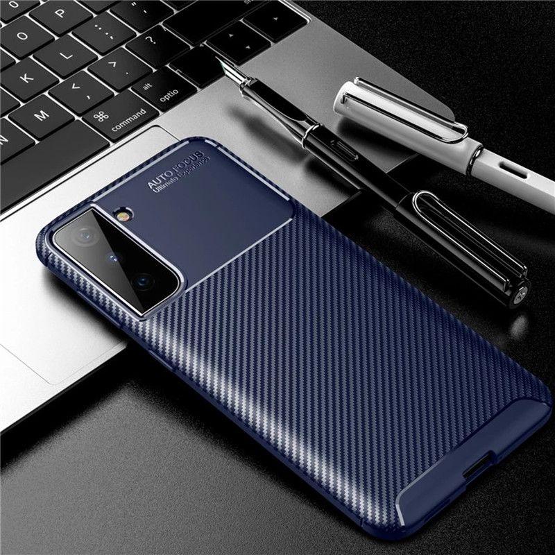 Karbon Fiber TPU Telefon Kılıfları Için iPhone 12 Pro Max 11 Samsung Galaxy S21 Artı Ultra A02S A42 5g Cep Case Slim Darbeye Dayanıklı
