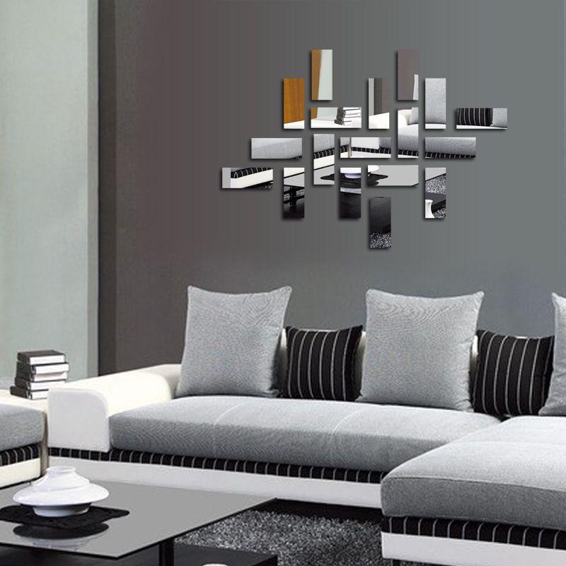 18 صفائح ذاتية اللصق DIY 3D مرآة لاصقة الاكريليك مرنة مرآة ملصقات الحائط لغرفة النوم الرئيسية فنون غرفة المعيشة الديكور