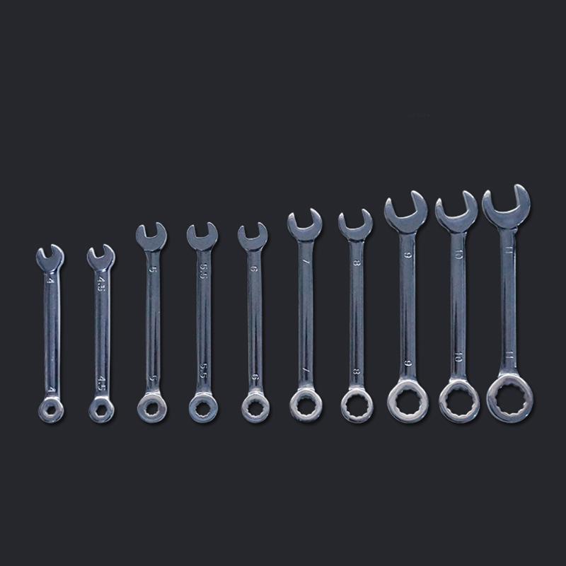 Combinación 10pcs Mini metal Offset llave inglesa llaves Conjunto Clave Llave de anillo a prueba de explosiones de bolsillo británicos / métricas Tipo Llaves
