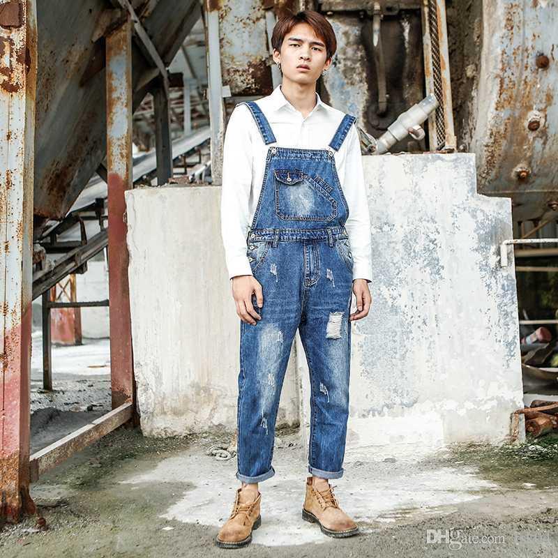 2020 Nuovo Bib da uomo Versione coreana dei gatti lavati giapponesi Jeans Personality One-Piege Nove Punts Brependers Taglia S-4XL 5XL