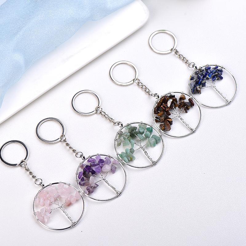 Großhandel Crystal Tree of Life Charm Schlüsselanhänger Amethyst Rosenquarz Halskette für Mode Weihnachtsgeschenk Freundschaft Dekoration