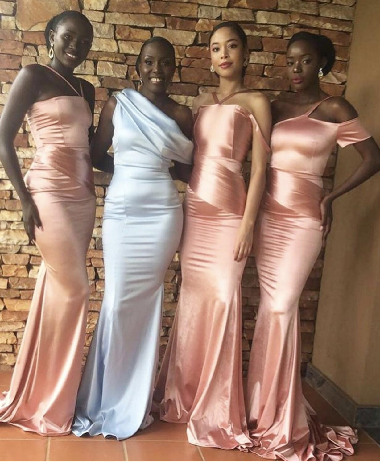 2021 Elegant African Long Bridesmaid Dresses Mixed Orders Dubai Arabic Country Wedding Party Guest Maid of Honor Gowns Formal Coral