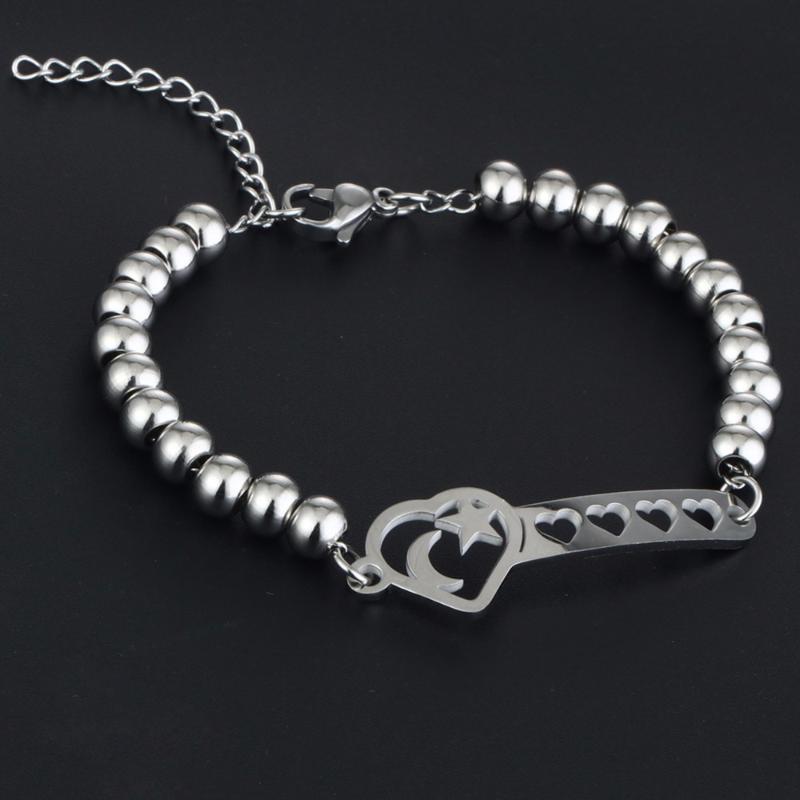 Moda Takı Paslanmaz Çelik Bilezikler Kadınlar için Romantik Çift Hediyeler Kalp BilezikBangle Link Zinciri Boncuk Yıldız Ay SL26