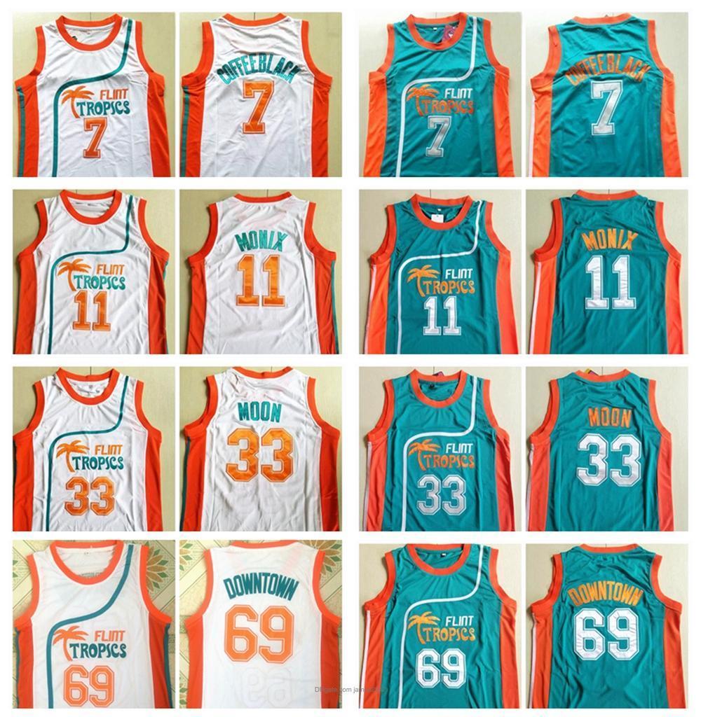 Atacado Mens Pro Movie Jersey 11 Flint Tropics 7 Café Preto 33 Lua Semi 69 Downtown Basketball Jerseys Todos Costurados Bordado