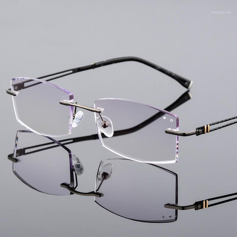 1.61 Index Optik Linse Brillen Diamant getrimmt Randlose Gläser Titanmode Modische fertige Linse Brillenfassungen Custom1