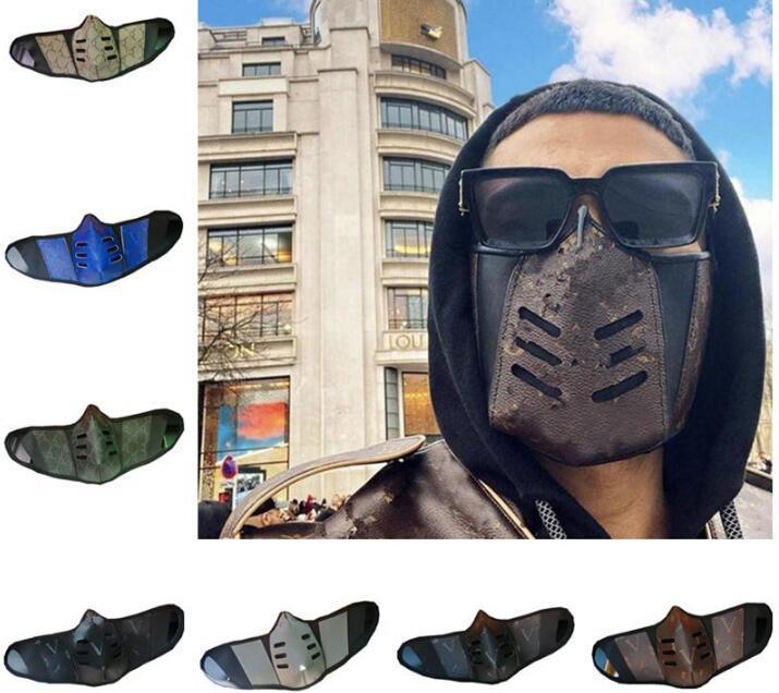 Us us stock Unisex дизайнерские маски для лица крышки PU кожаные мужчины женщины пылезащитные лица маска для лица мода рот-муфеля моющаяся спортивная защитная маска