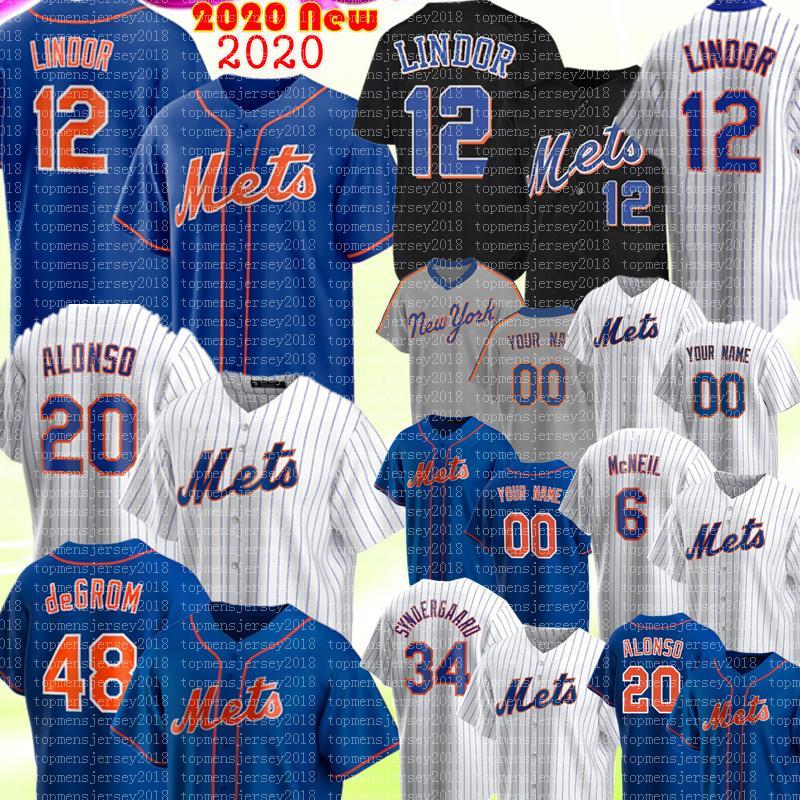 Nuevo 12 Francisco Lindor Jersey Jacob DegroT 20 Pete Alonso Jersey 6 Jeff McNeil Marcus Stroman Noah Syndergaard Strawberry Custom Baseball