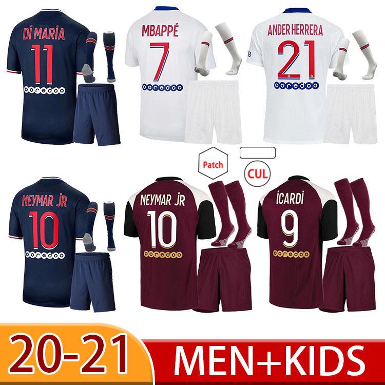 Maillot de pé 20 21 kimpembe di maria kean marquinhos futebol jersey mbappe icardi camisa de futebol homens crianças hommes enfantantes
