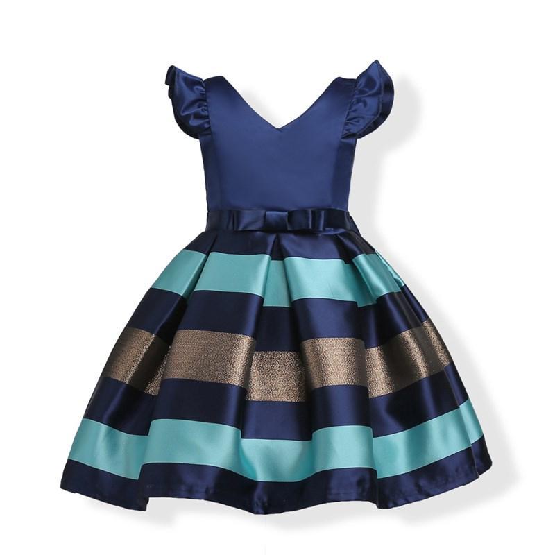 Sin mangas de fantasía a rayas Diseño Chicas Cosplay Weddding vestido de las muchachas niños bonita de la fiesta de la princesa vestidos de azul de primavera