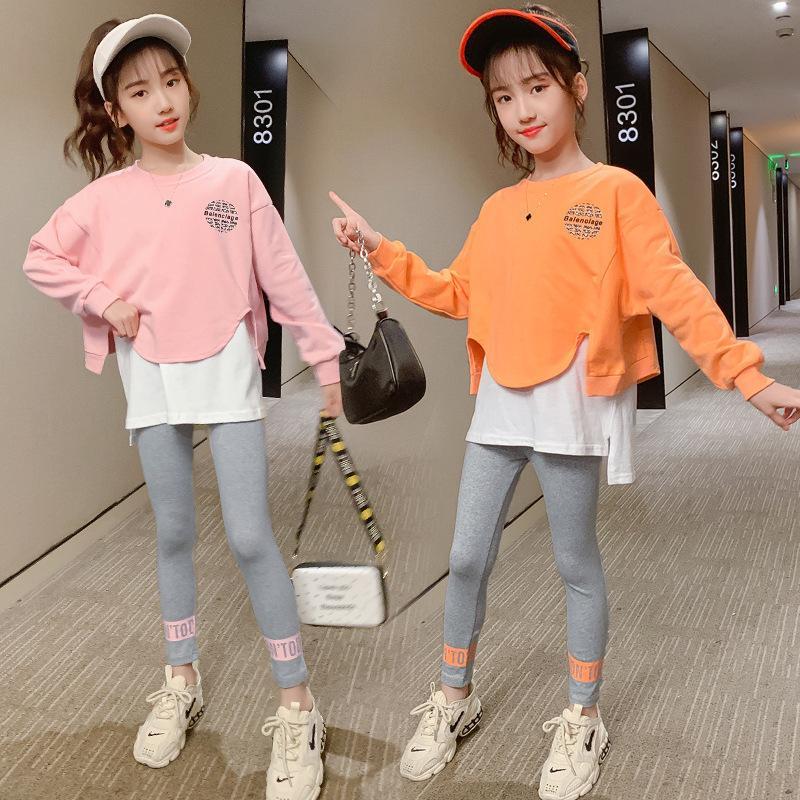 Kız Sonbahar Giyim Seti 2020 Yeni Stil Batı Tarzı KIZIN Kırmızı Hoodie Şık Çocuk Sonbahar Parçası FashionX1019
