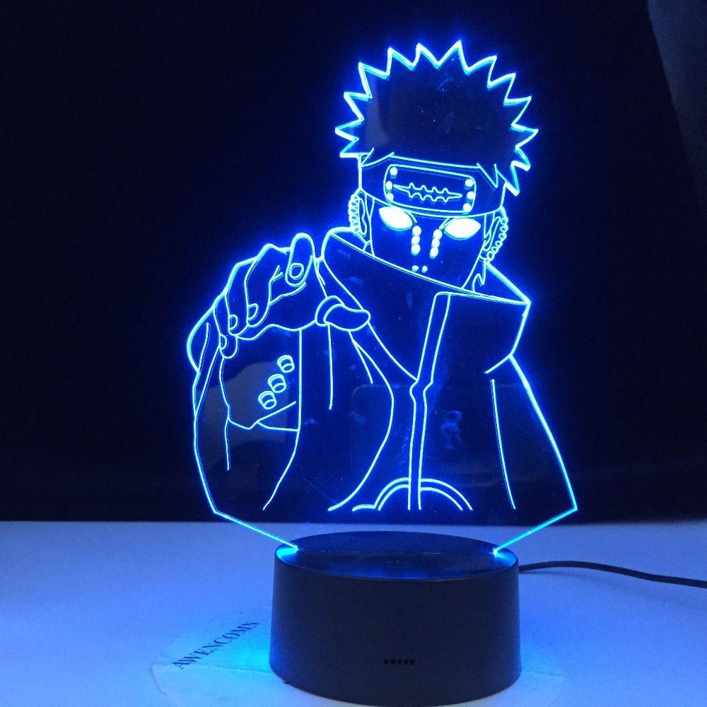 아이 침실 야간 조명 생일 선물 테이블 램프를 변경 고통 나루토 나가토 그림 키즈 밤 빛 LED 색상의 여섯 경로