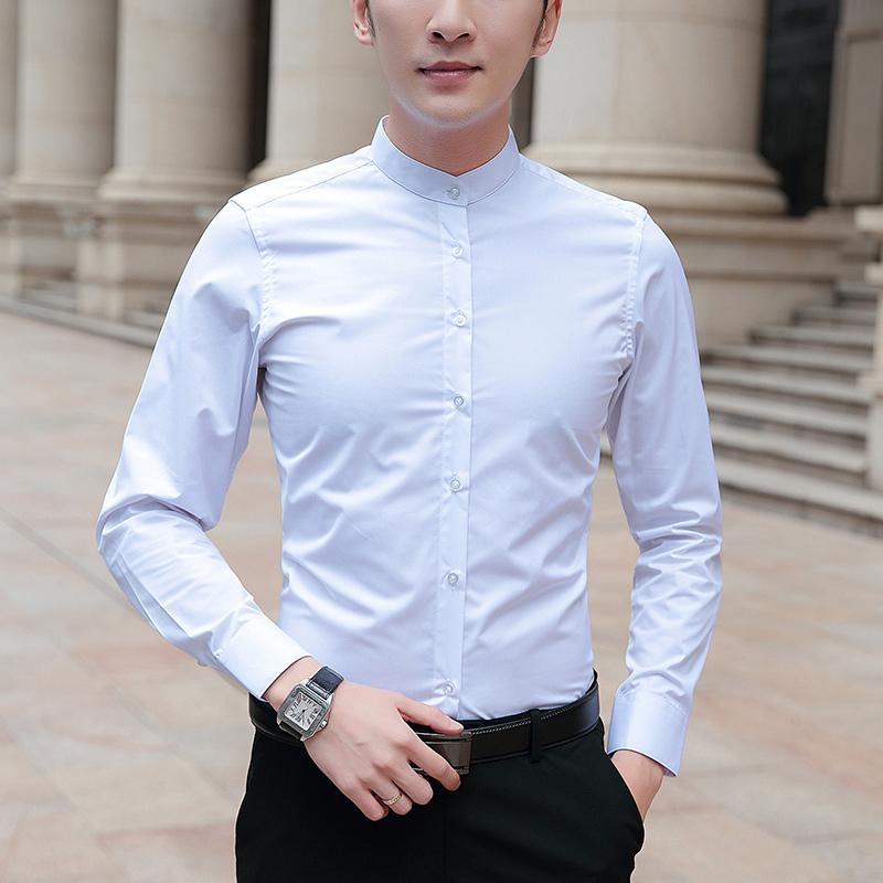 Browon Brand 2020 Новые Мужские Рубашки Бизнес Бизнес С Длинным Рукавом Стенд Воротник Хлопчатая Мужская Рубашка Slim Fit Популярные Дизайн Мужской Фахион