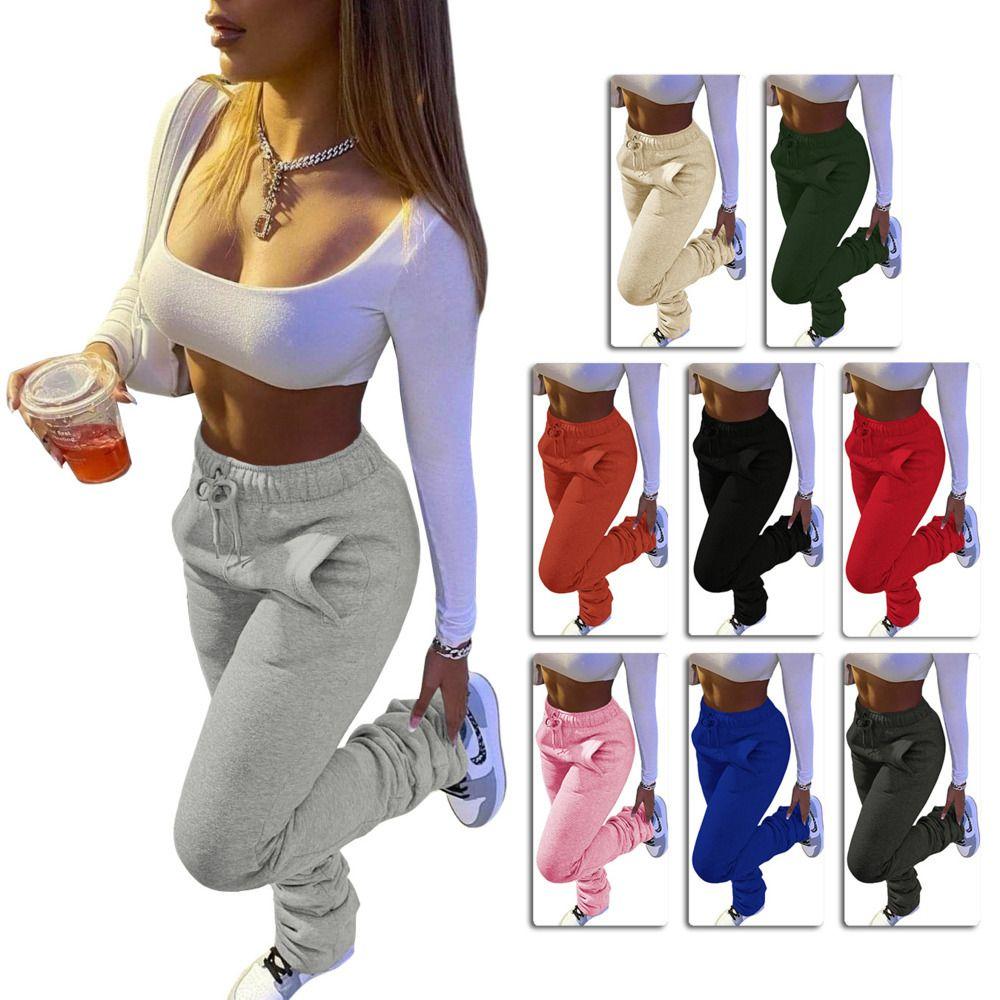 Damen Hosen Solid Color Heavy Sweater Stoff Sport-beiläufige Kordelzug Hose Stapel mit Taschen Damenmode Leggings