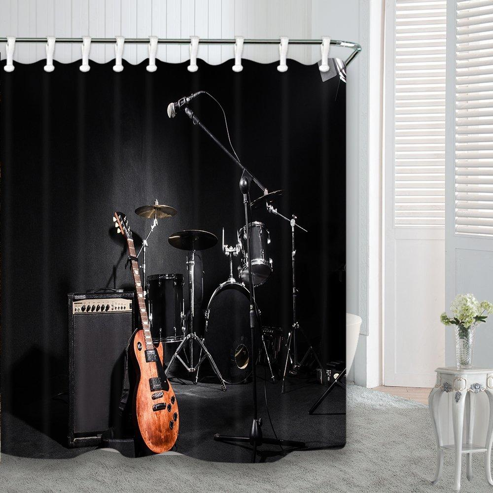 Musical Instruments Guitar with Drum in Black Waterproof Fabric Shower Curtain Y1126