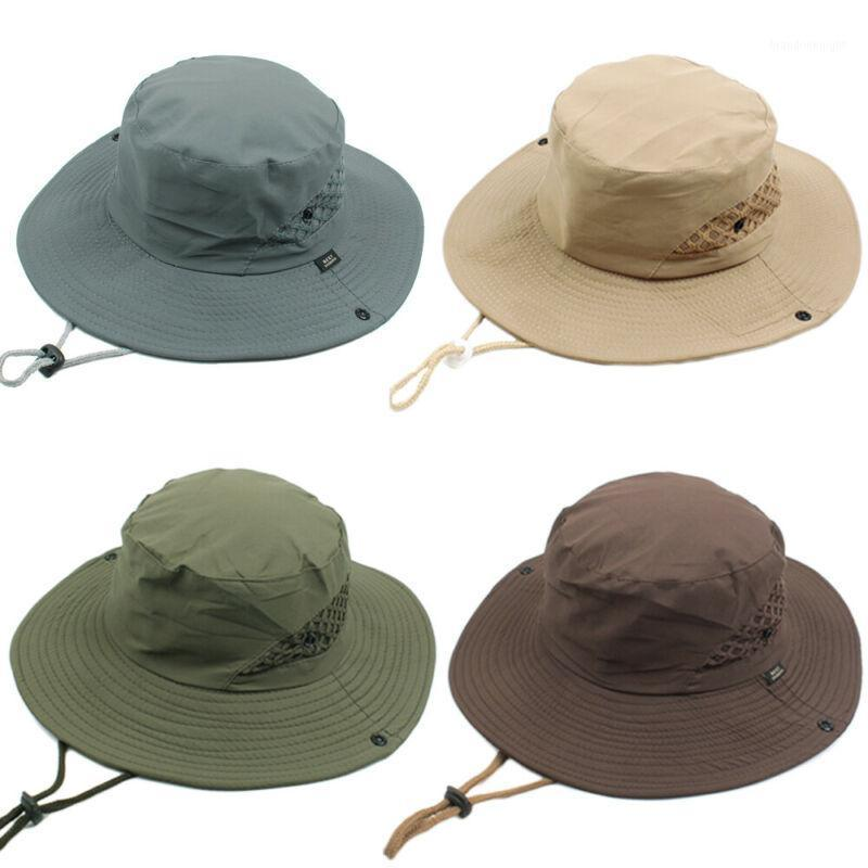 Unisex Man Breathable Sunscreen Hollow Out Travel Cap Wide Brim Hat Fishing1
