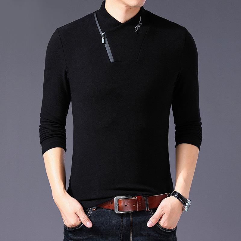 Brand 2020 Nouveau T-shirt de style Coton Homme à manches longues Hommes Couleur Solide Color Coller Collier T-shirt surdimensionné Un morceau