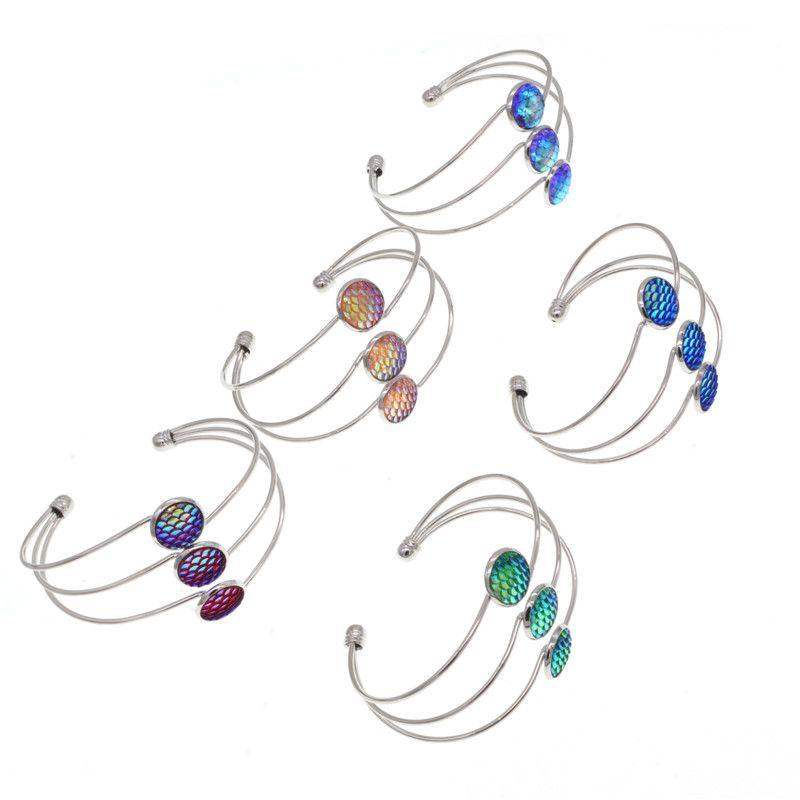 Main résine sirène poisson / écaille de dragon Bracelets Antique SilverSilver couleur ronde amour bracelet Bangles