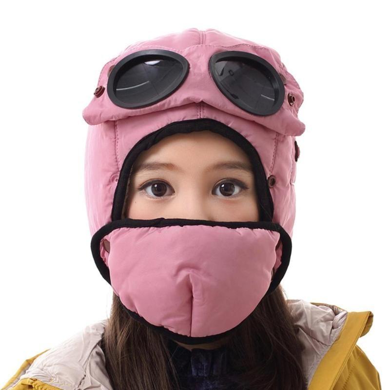 Детская бомбардировщик с бархатом, чтобы сохранить теплую зиму для детей водонепроницаемый ушной капюшон с очками маска крутая балаклава