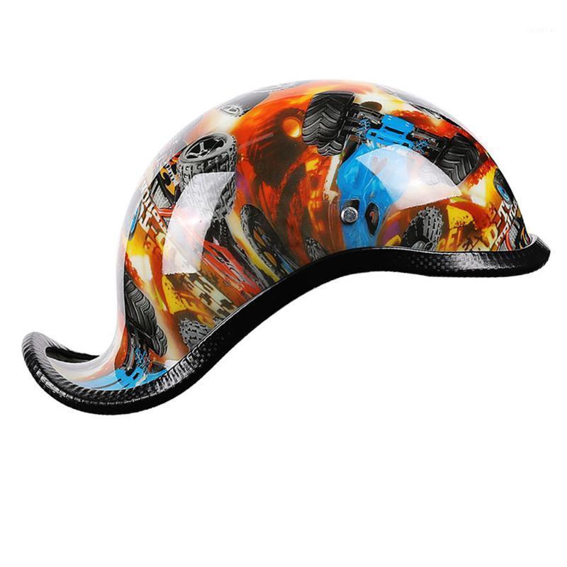 Novo capacete de moto cara aberto retro meia capacete moto motocicleta correndo fora estrada1