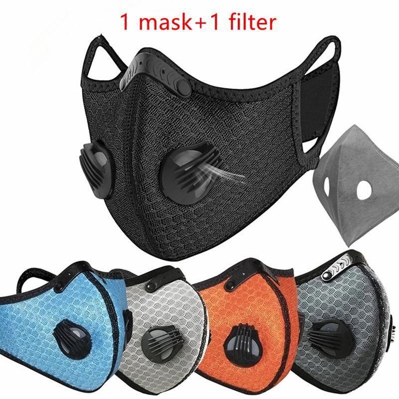 Treinamento de ciclismo anti-poluição Novo running pm2.5 homens esporte ativado filtro de carvão desenhista para máscaras máscara rosto lavável mulheres wdjqh