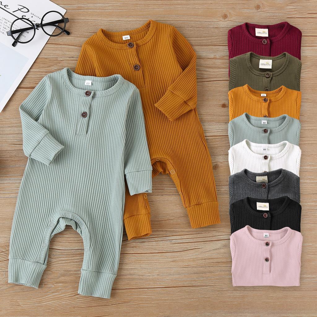 2020 nouveau-né bébé fille garçon fille coton coton tricoté combinaison côtelé combinaison vêtements solides tenue chaude tenue printemps automne vêtements y1219