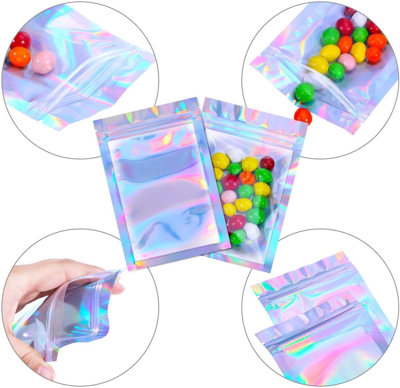 الأكياس mylar قابلة للأوعية لون المجسمات متعددة الحجم رائحة برهان أكياس واضح الرمز البريدي الغذاء الحلوى تخزين أكياس التعبئة