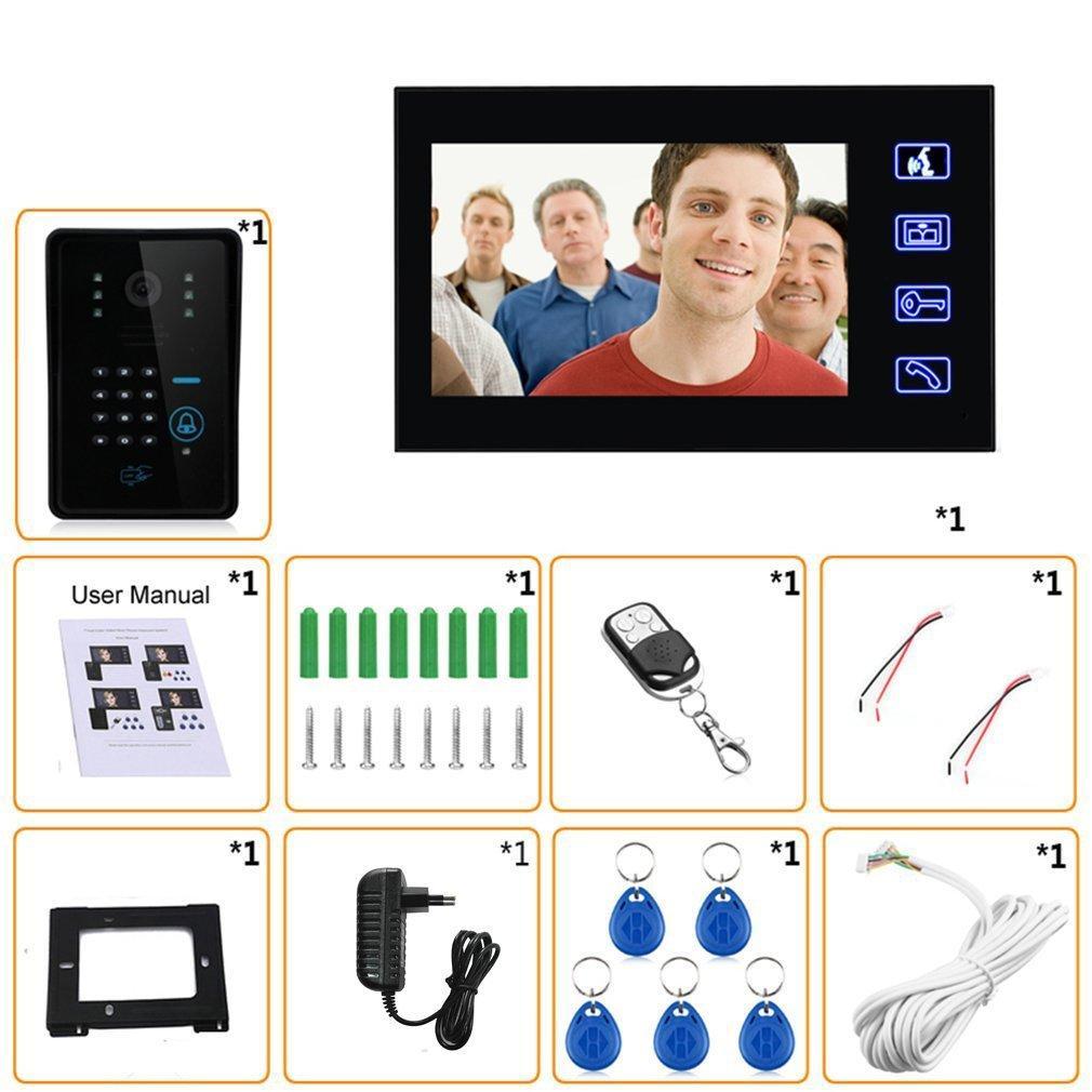 7-Zoll-Farb HD Touch Screen Wired RFID Passwort Video-Türsprechanlage Türklingel mit IR-Kamera 200M Fernsteuerungssystem Intercom
