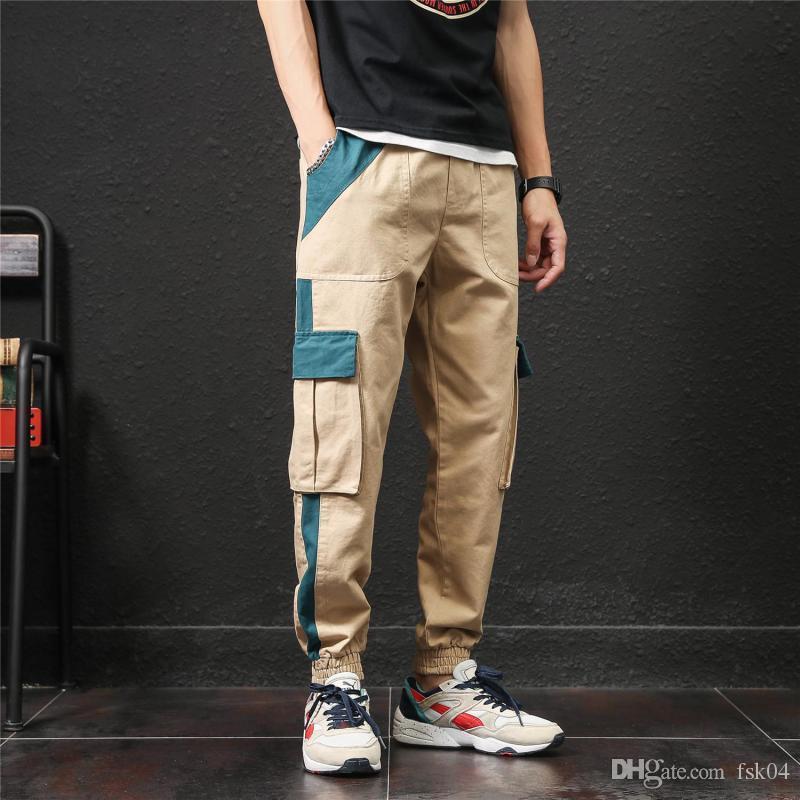 Calças Autumn Color Fashion Bloco de Carga Homens Streetwear Vestuário Plus Size táticos calças cintura elástica Calças