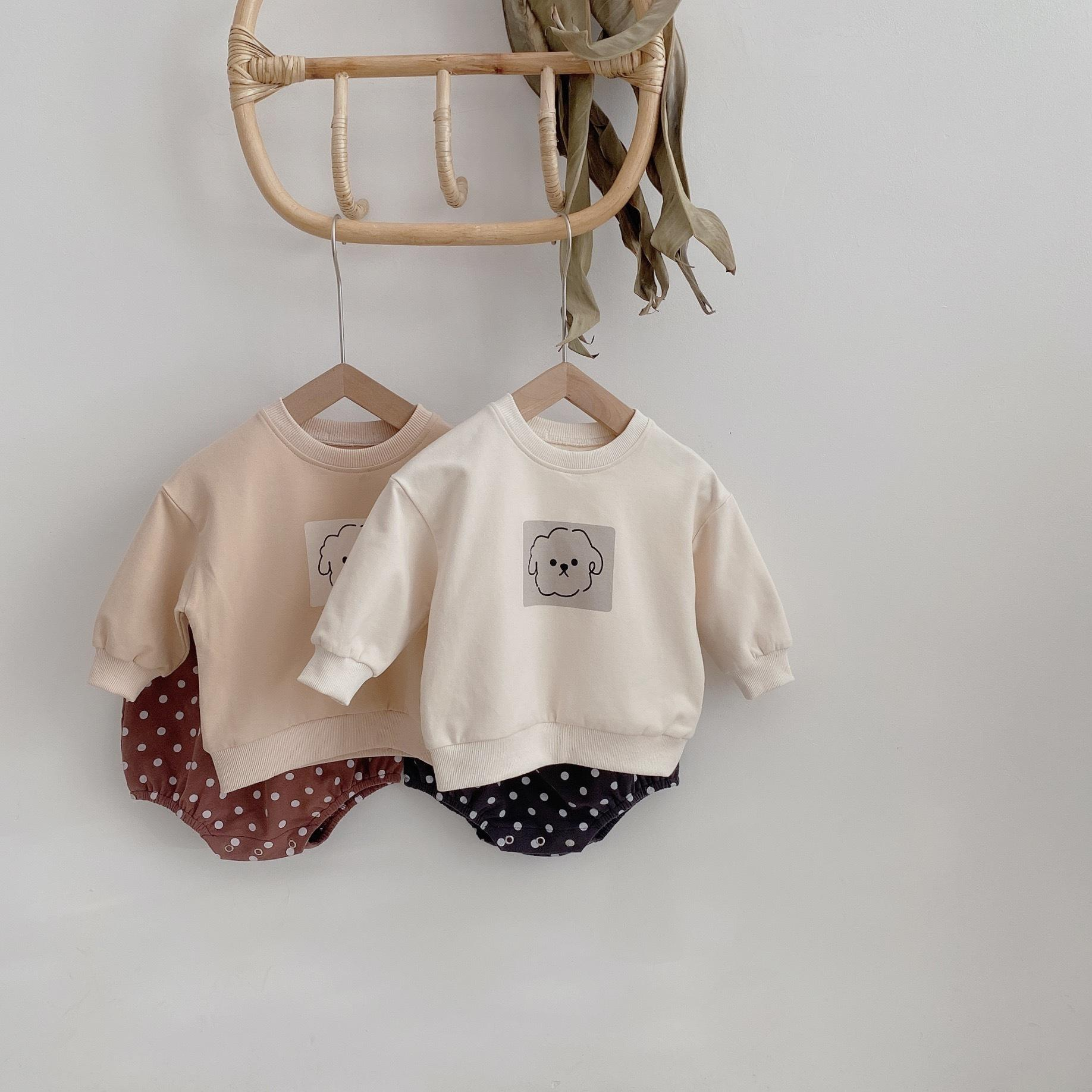 Outono cão bonito camisolas de manga comprida e shorts de ponto 2 pcs conjuntos meninos e meninas roupas de algodão 20127