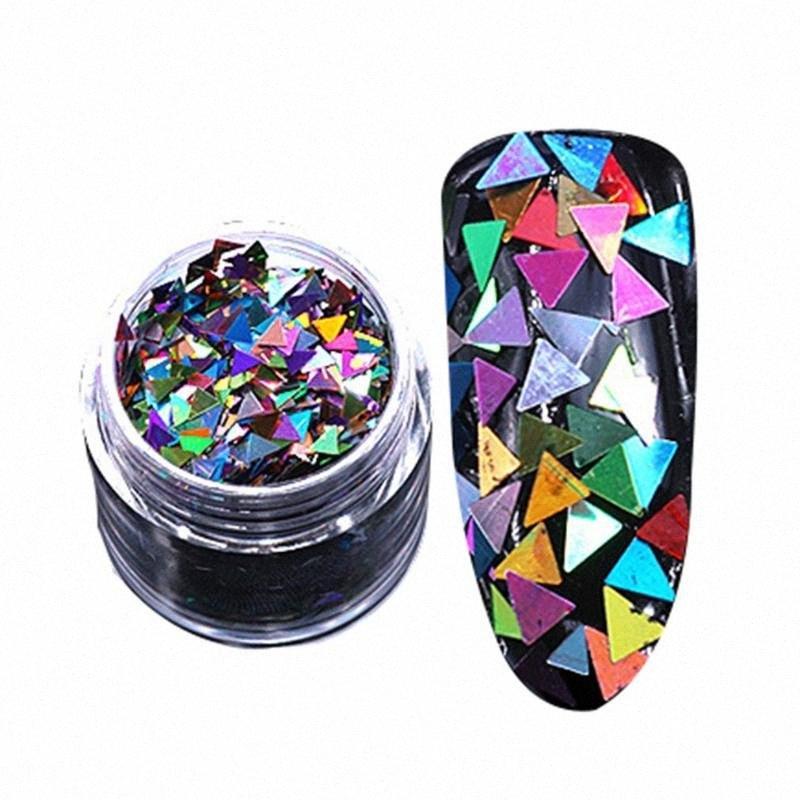 Belle ongles colorés Platinum pailletée photothérapie Triangle Métal Argent Glitter Filles Femmes Whai #