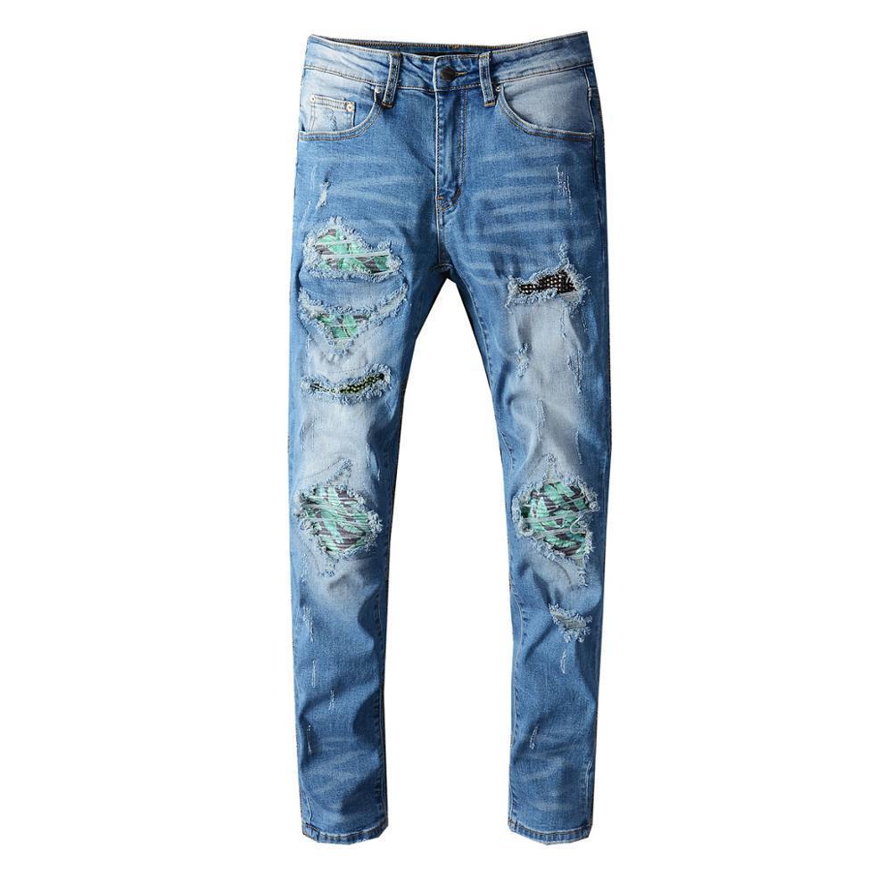 NOUVEAU Pantalon masculin Homme High Street Mode Bleu Blue Brand Dommages de lavage Patch Diamond Jeans déchirés Elastic Slim-Fit Denim Pantalon 658