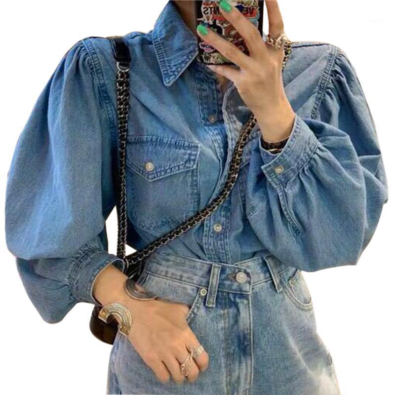 2020 Automne Fashion Femmes Jeans Chemise Chic Feule Sleeve Lâche Denim Manteau de chemise à manches longues 2020 Filles chaudes Casual Outwear1