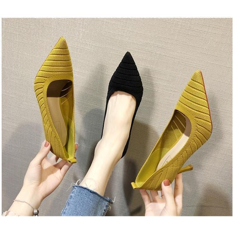HKXN Fashion 7см вязание женщин насосы сексуальные тонкие каблуки высокие каблуки Обувь точек на вечеринке Свадебный насос Drop доставка Y200113